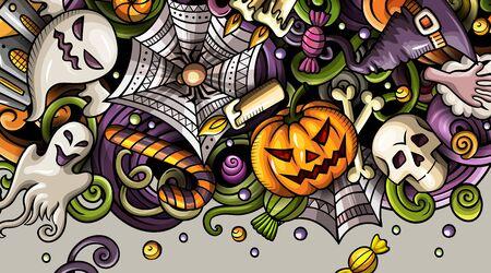 Cartoon cute colorful hand drawn doodles Happy Halloween banner 写真素材