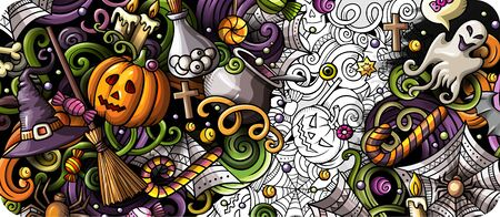Cartoon cute colorful hand drawn doodles Happy Halloween background. Holidays banner design. 写真素材