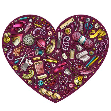 Colorful hand drawn set of Handmade cartoon doodle objects, symbols and items. Heart form composition Stockfoto