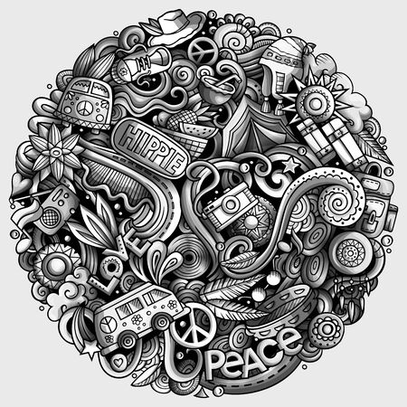 Hippie hand drawn doodles illustration. Hippy poster design. Young people elements and objects cartoon background. Toned funny picture. Stok Fotoğraf