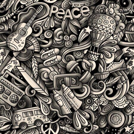 Hippie hand drawn doodles seamless pattern. Hippy background. Cartoon fabric print design. Toned illustration