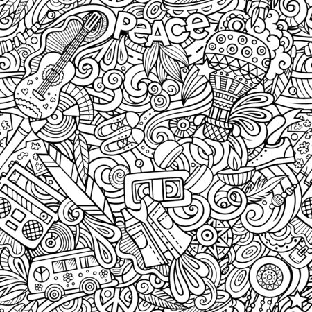 Cartoon hand-drawn Doodles on the subject of Hippie style theme seamless pattern. Sketchy background