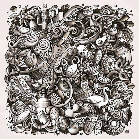 Cartoon doodles Latin America illustration. Toned latinamerican picture Banco de Imagens