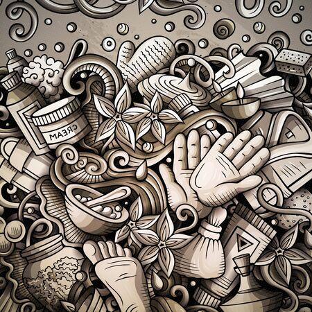 Massage hand drawn doodles illustration. Spa salone frame card 写真素材