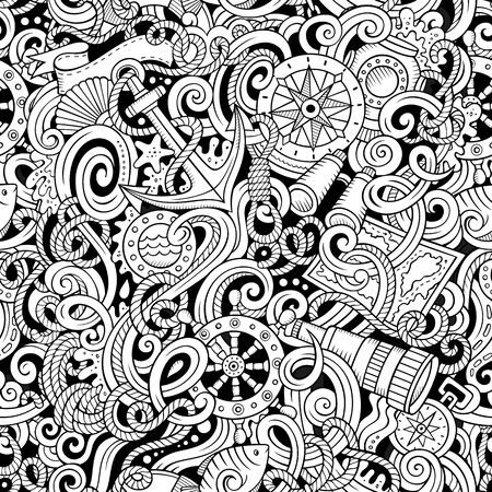 Cartoon hand-drawn nautical doodles seamless pattern. Detailed line art, with lots of objects background
