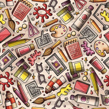 Cartoon niedliche handgezeichnete Design und Kunst nahtlose Muster. Bunt detailliert, mit vielen Objekten im Hintergrund. Endlose lustige Illustration.