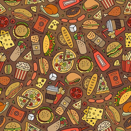 Cartoon cute hand drawn Fast food seamless pattern. Colorful with lots of objects background. Endless funny illustration. Bright colors backdrop with fastfood symbols and items