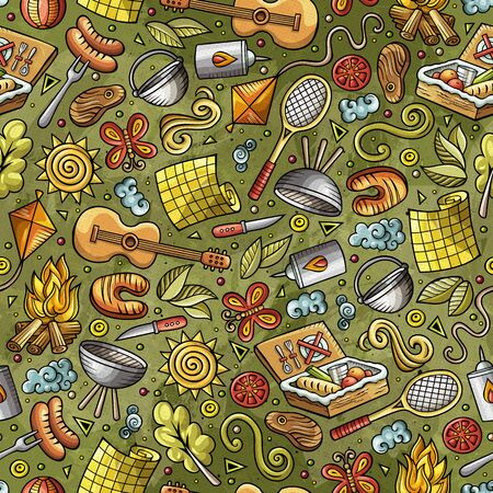Cartoon cute hand drawn Picnic seamless pattern Stock fotó
