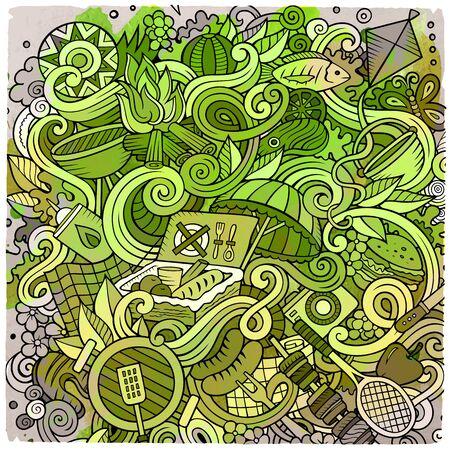 Cartoon cute doodles hand drawn Picnic illustration Imagens