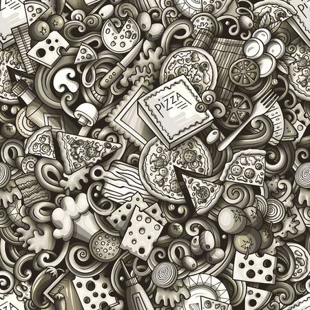 Cartoon cute doodles hand drawn Pizza seamless pattern. Monochrome detailed, with lots of objects background. Endless funny illustration.