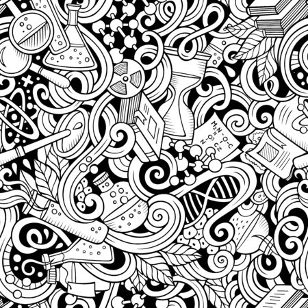 Cartoon hand-drawn science doodles seamless pattern. Line art detailed, with lots of objects background