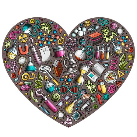 Colorful hand drawn set of Science cartoon doodle objects, symbols and items. Heart form composition