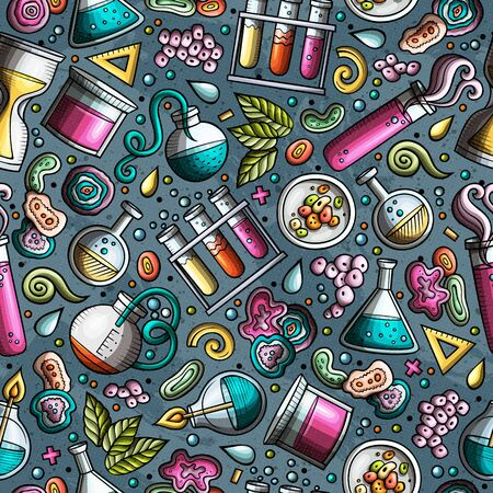 Cartoon cute hand drawn Science seamless pattern. Colorful detailed, with lots of objects background. Endless funny illustration. Bright colors scientific backdrop. Reklamní fotografie