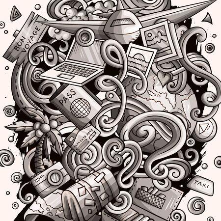 Travel hand drawn doodles illustration. Traveling poster design. Zdjęcie Seryjne