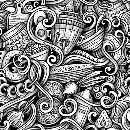 Russian food vector hand drawn doodles seamless pattern. Graphics background design. Cartoon trace illustration. Stock Photo