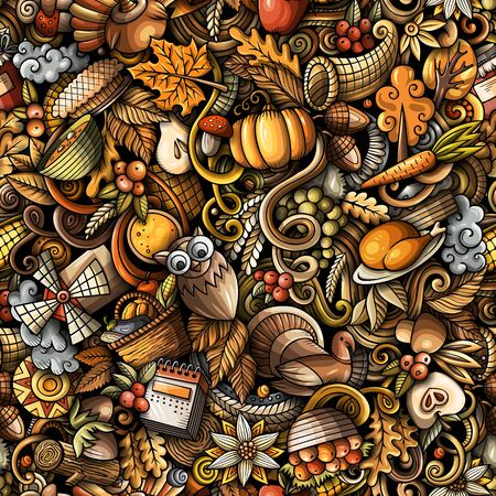 Cartoon cute doodles hand drawn Happy Thanksgiving seamless pattern. Colorful detailed, with lots of objects background. Endless funny vector illustration. All objects separate. Stock fotó