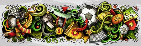 Cartoon vector doodles Football banners compositions set