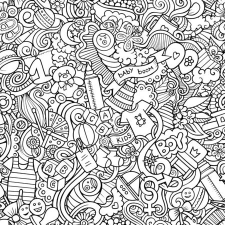 Cartoon cute doodles hand drawn Baby seamless pattern.