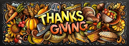 Happy Thanks giving hand drawn cartoon doodles illustration.