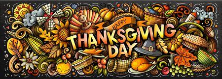 Happy Thanksgiving hand drawn cartoon doodles illustration. Illusztráció