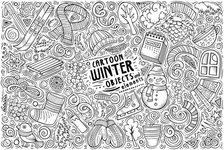 Vector hand drawn doodle cartoon set of Winter objects and symbols
