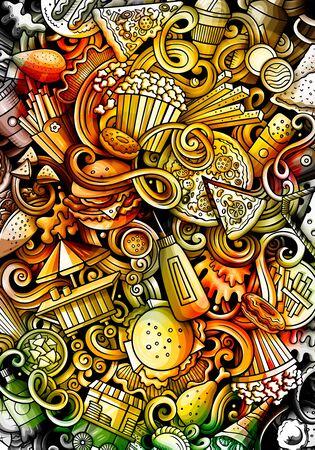 Fast Food hand drawn doodle banner. Cartoon detailed illustrations Ilustração Vetorial