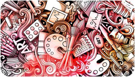 Artist hand drawn doodle banner. Cartoon detailed illustrations.