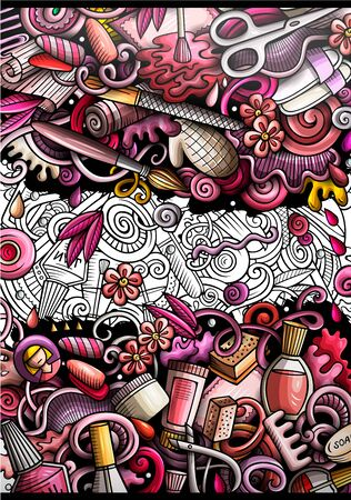 Nail salon hand drawn doodle banner. Cartoon detailed illustrations.