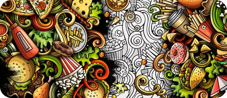 Fastfood hand drawn doodle banner. Cartoon detailed illustrations Illustration