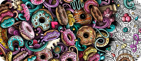Donuts hand drawn doodle banner. Cartoon detailed illustrations.
