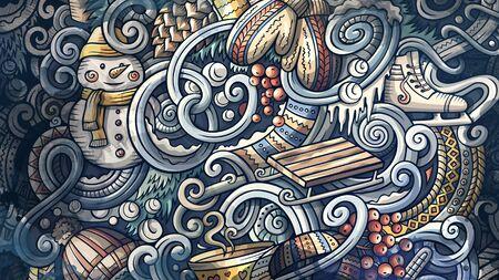 Doodles Winter graphics illustration. Creative cold season art background. Foto de archivo - 134239161