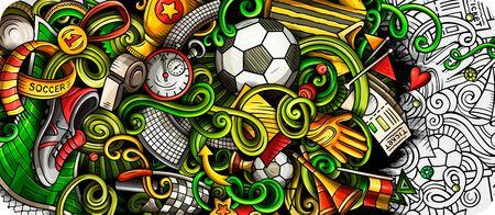 Soccer hand drawn doodle banner. Cartoon detailed illustrations.