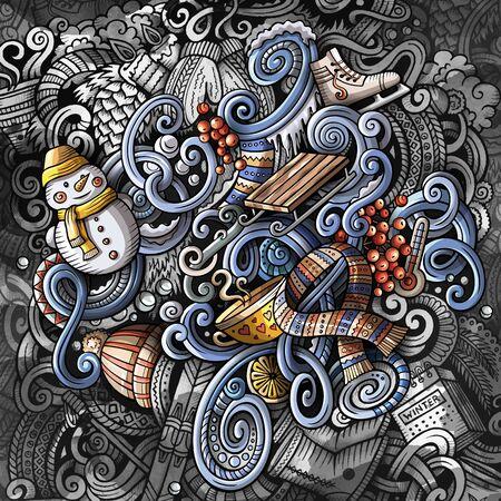 Doodles Winter graphics illustration. Creative cold season art background. Foto de archivo - 134239327