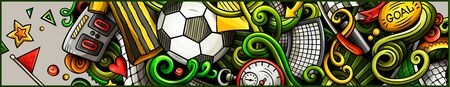 Soccer hand drawn doodle banner. Cartoon detailed illustrations.
