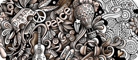 Hippie hand drawn doodle banner. Cartoon detailed illustrations.