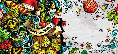 New Year hand drawn doodle banner. Cartoon detailed flyer.