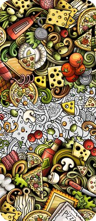 Pizza hand drawn doodle banner. Cartoon detailed flyer.