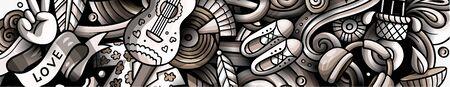 Hippie hand drawn doodle banner. Cartoon detailed illustrations.