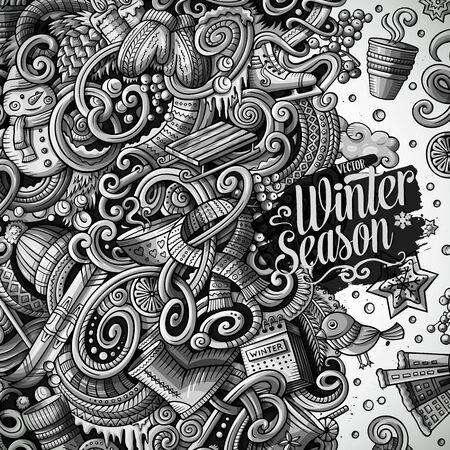Cartoon cute doodles hand drawn Winter frame design.