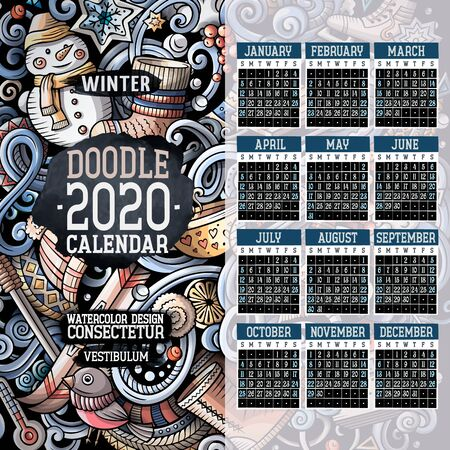 Cartoon colorful hand drawn doodles Winter 2020 year calendar template  イラスト・ベクター素材