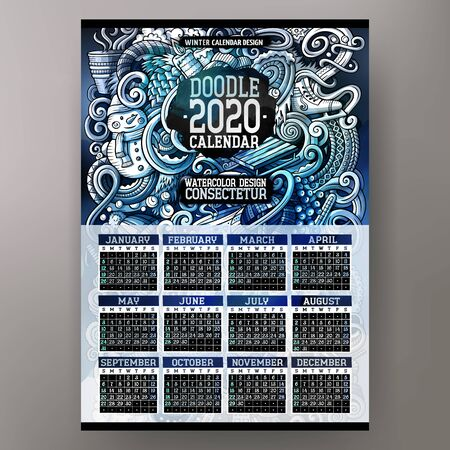 Cartoon doodles Winter 2020 year calendar template. English, Sunday start