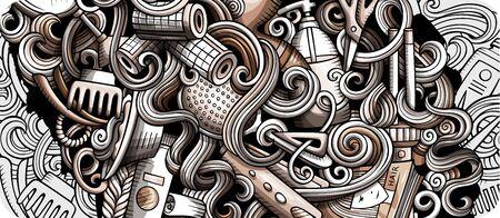 Hair salon hand drawn doodle banner. Cartoon detailed illustrations.