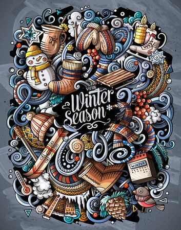 Cartoon vector doodles Winter illustration. cold season funny picture