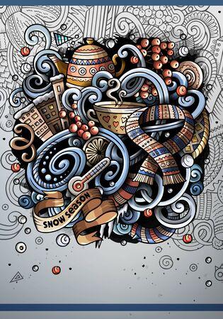 Cartoon hand drawn doodles Winter poster design template