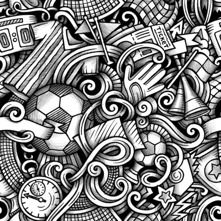 Football hand drawn doodles seamless pattern. Graphics background design.
