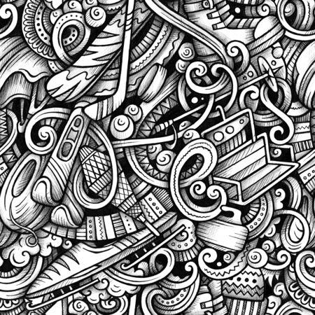 Winter sports hand drawn doodles seamless pattern.