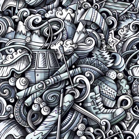Winter sports hand drawn doodles seamless pattern. Ski resort background.