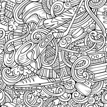 Winter sports hand drawn doodles seamless pattern