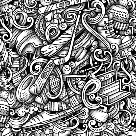 Winter sports vector hand drawn doodles seamless pattern.
