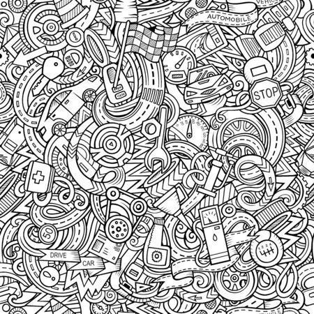 Cartoon cute doodles Automotive seamless pattern Stock Photo - 134423329